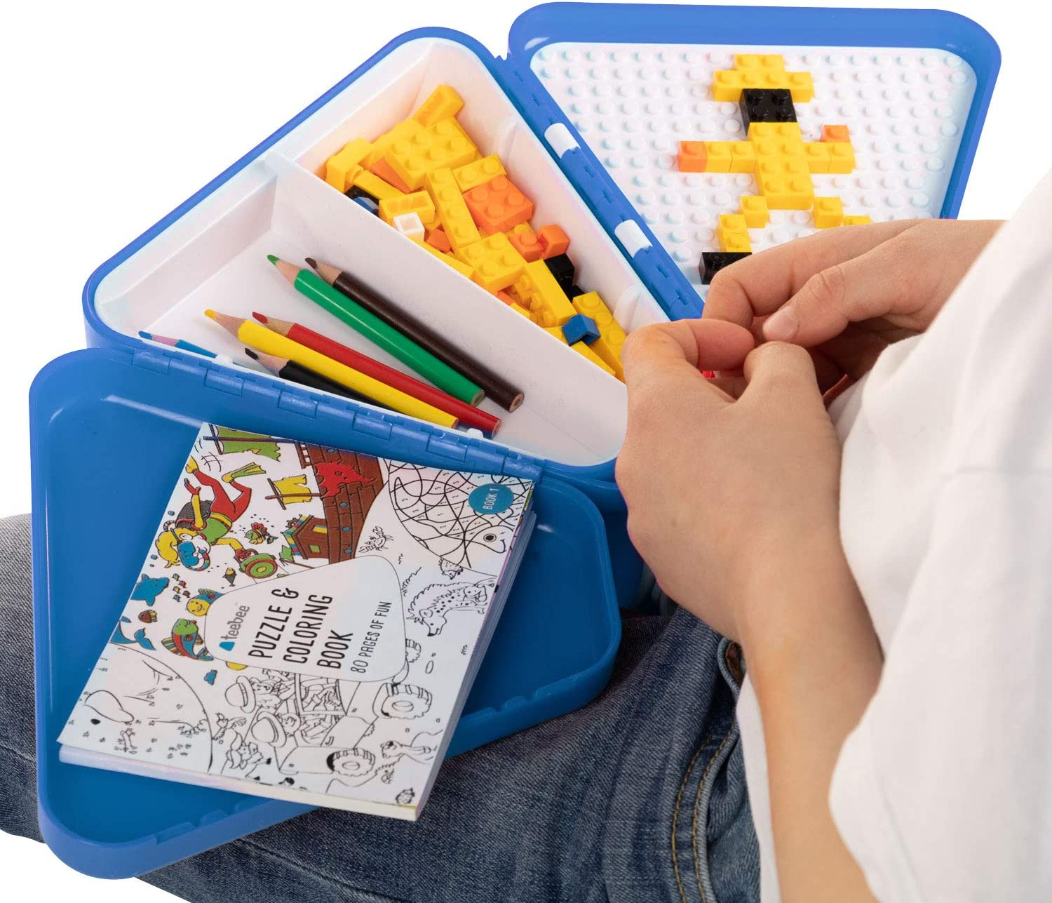 Included Bricks Activity Tray Table for Car Seat Blue Play w Kids Travel Toy Box teebee Puzzle Book /& Colouring Pens Boys /& Girls Snack Storage Suitcase for Baby Tools Plane /& Stroller