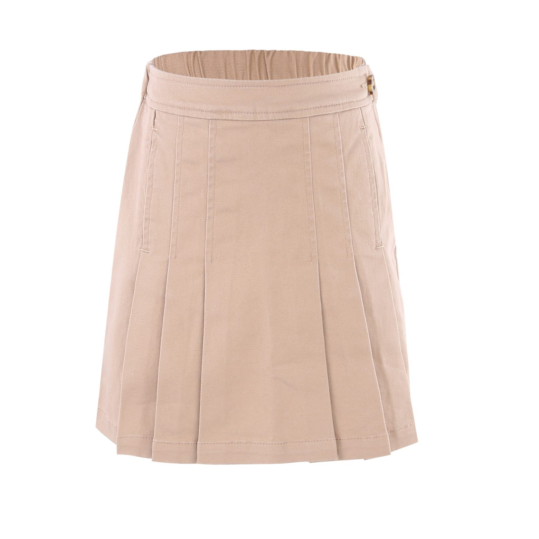 Bienzoe Girl's Cotton Stretchy Twill School Uniforms Pocket Pleated Skirt Khaki Size 16