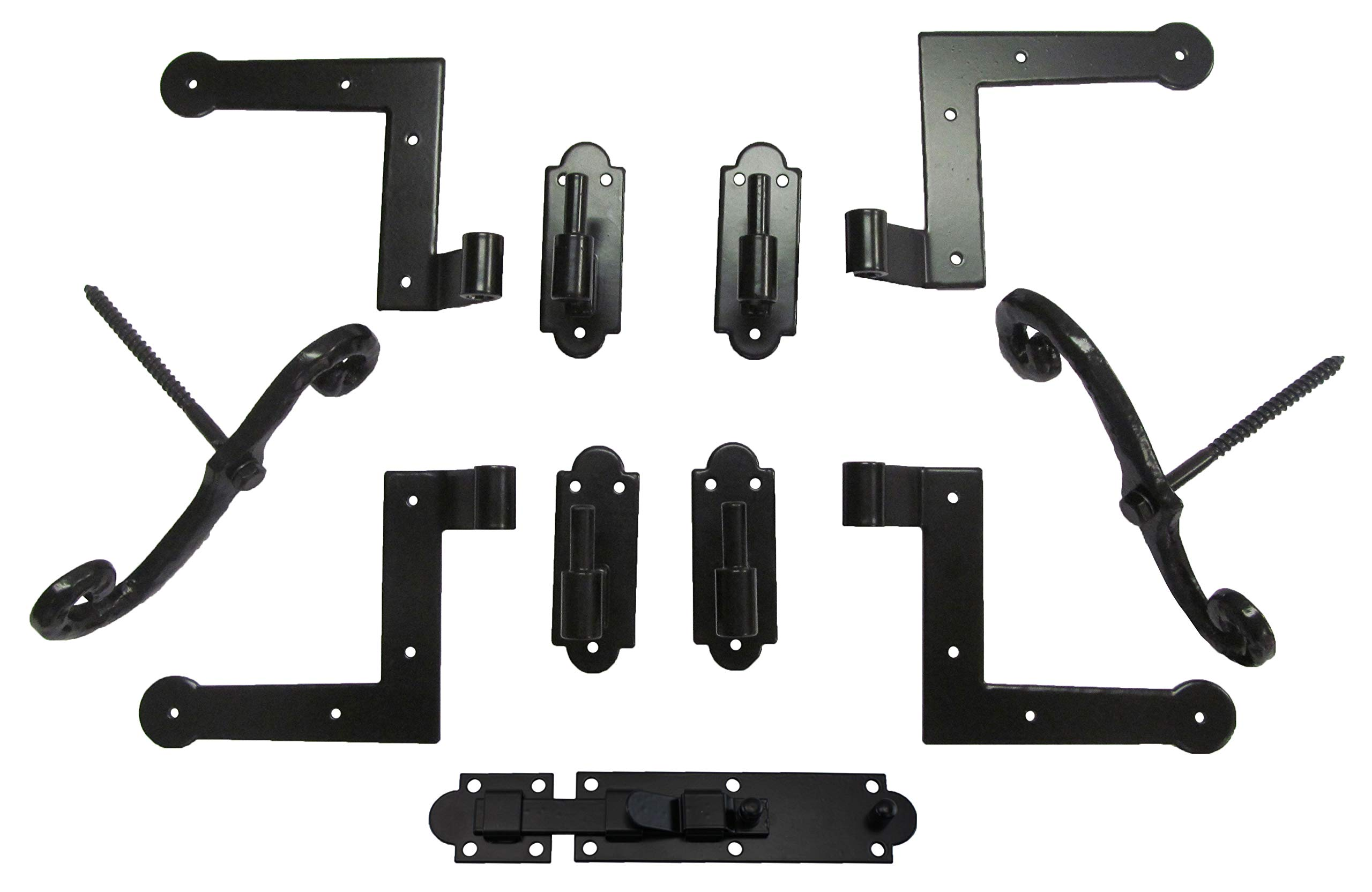 New York Style Shutter Hinge (4) Hardware Set Wood Mount with S/Dogs (2) with Slide Bolt