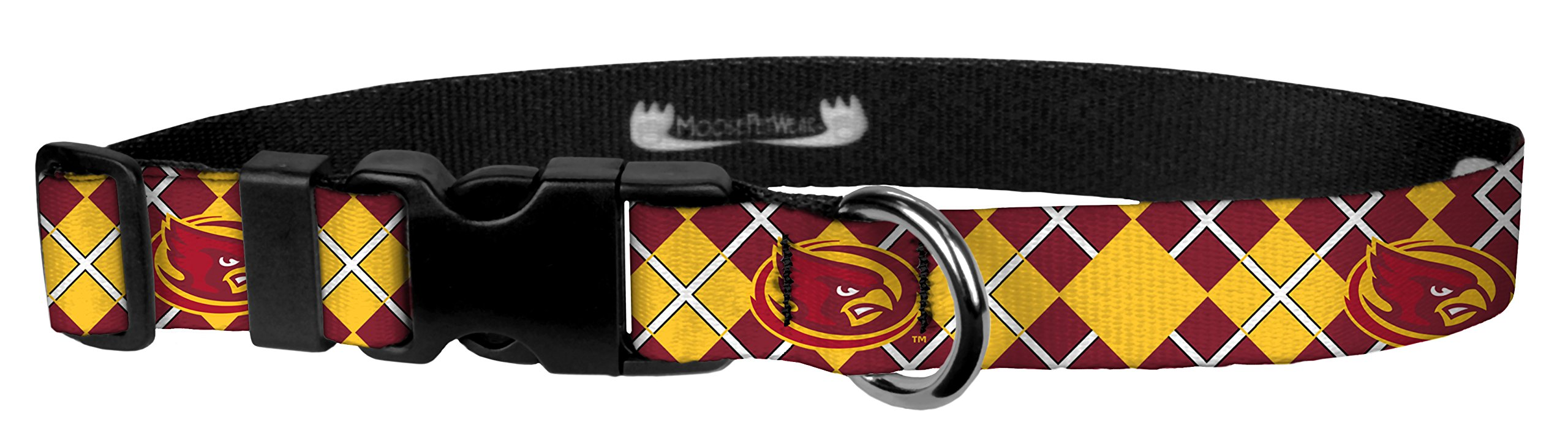 Moose Pet Wear Dog Collar – Iowa State University Adjustable Pet Collars, Made in the USA – 1 Inch Wide, Extra Large, Argyle
