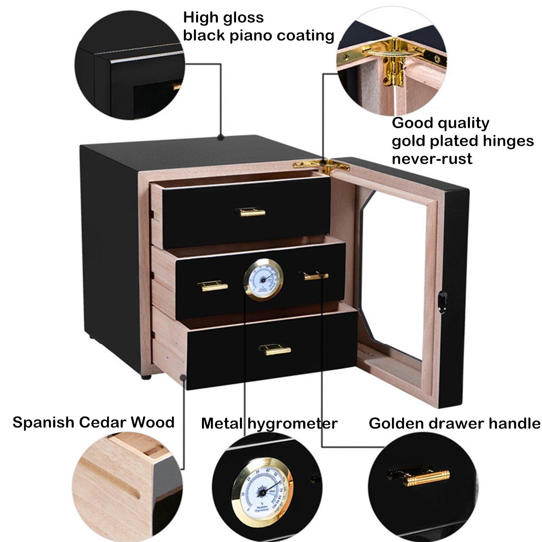 Ordinateur de bureau /à 3 tiroirs pour humidificateur mont/é sur le devant Glasstop tremp/é dans un humidificateur Cigare peut contenir 80 cigares Bo/îte de rangement