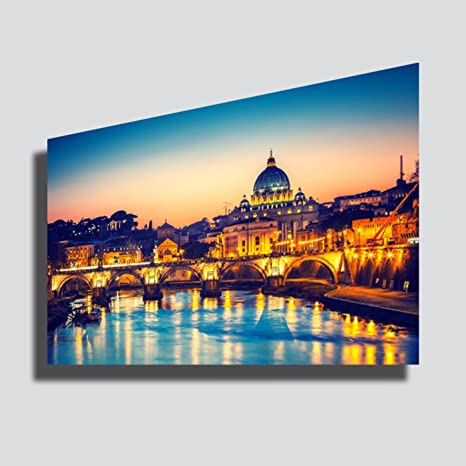 Quadro moderno XXL ROMA città Basilica San Pietro tramonto sunset ...
