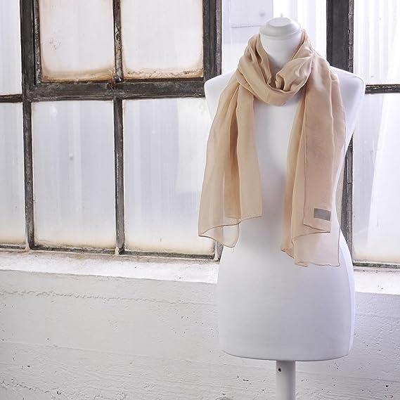 82b706223fc5 Classique Uni en mousseline de soie Écharpe Poids léger et doux Transparent  Semi opaque Tissu 47 x 160 cm (47 x 157,5 cm) - Luxueux au toucher à  n importe ...