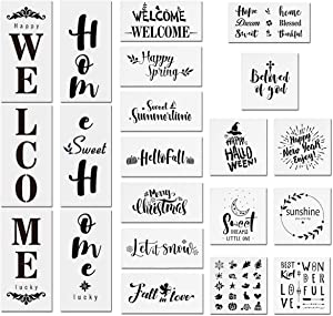 21 PCS Seasonal Welcome and Home Sign Stencils Set, 15PCS Seasonal Holiday Stencils, 3 PCS Welcome Stencils, 3 PCS Sweet Home Stencils, Reusable Templates for Painting on Wood, Art Projects Crafts (B)