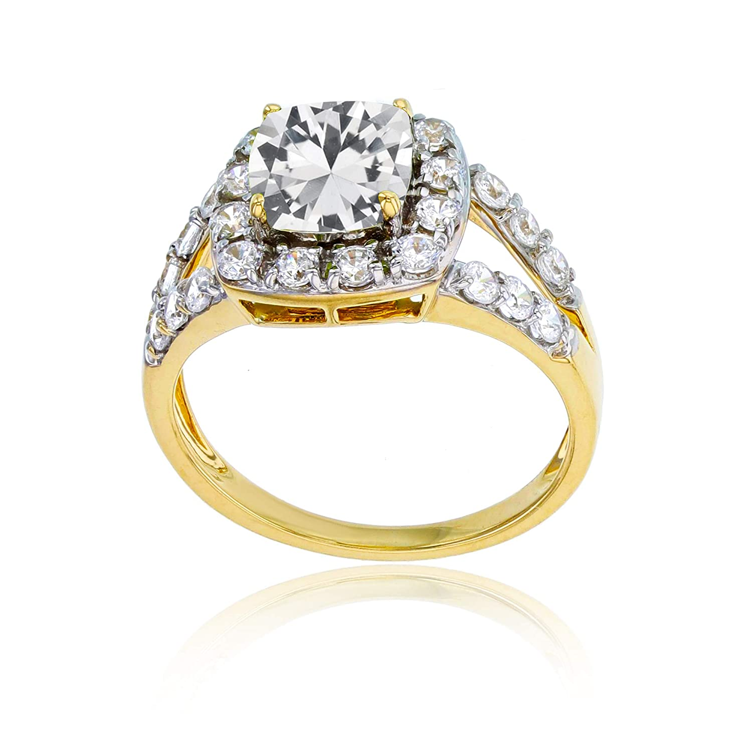 Sterling Silver Yellow 7mm Cushion Gemstone /& 2mm Round Created White Sapphire Ring Decadence SSR7596Y6W-07