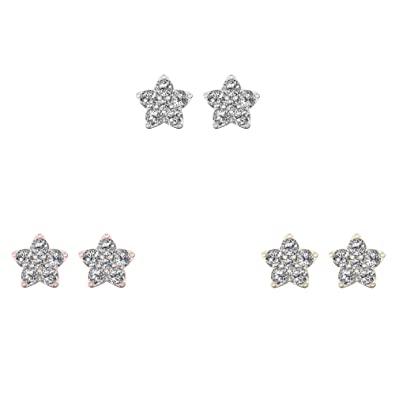 6d112d23954bc Amazon.com: IGI Certified 10K Rose Gold 1/2ct TDW Diamond Star Stud ...