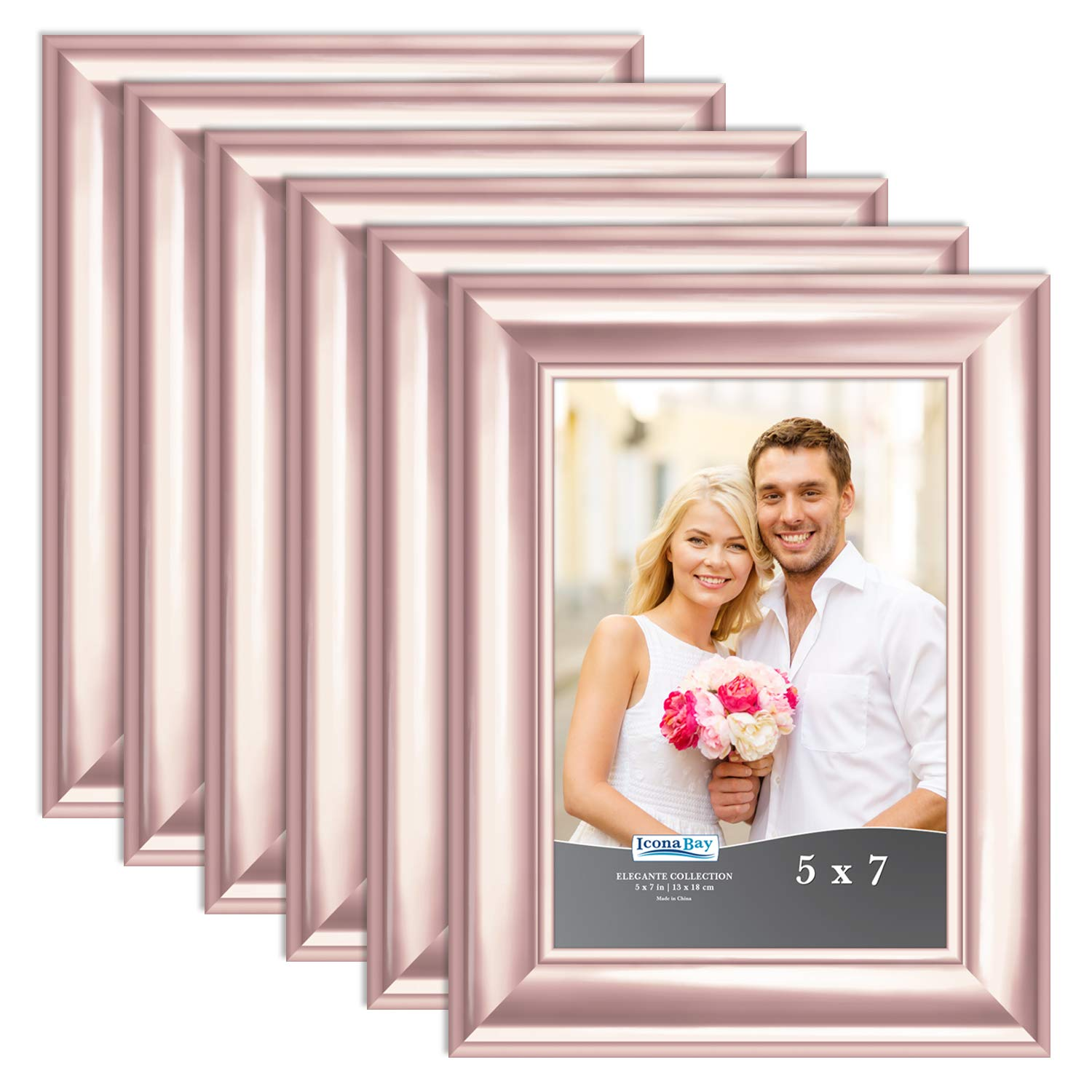 Icona Bay 5x7 Picture Frame (6 Pack, Rose Gold), Rose Gold Photo Frame 5 x 7, Wall Mount or Table Top, Set of 6 Elegante Collection