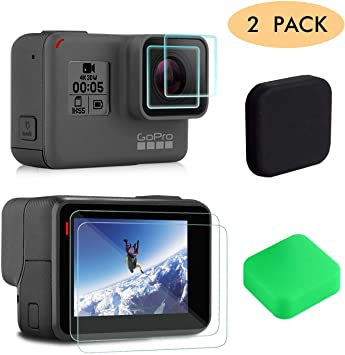KELIFANG Screen Protector Compatible with New Gopro Hero 7 Black Lens Cap Cover and Screen Protector Film Accessories 2018 // Hero 6 // 5 Black Action Camera with Lens Protector