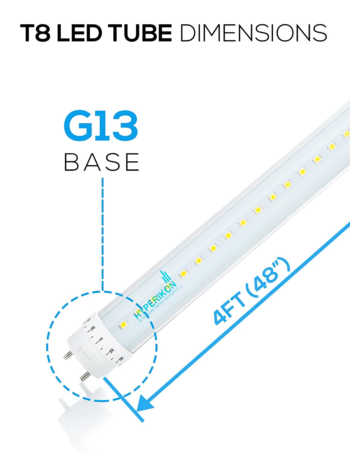 Hyperikon 4 Pack Of T8 Led Light Tube Rotatable End Caps 4ft 18w Wiring Diagram Free Picture 36w Equivalent 5000k Crystal White Glow Dual Powered Clear 1 Line Garage