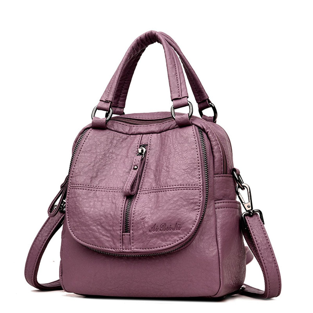 JOSEKO Fashion Backpack, Women High-end Multifunction Soft PU Leather Handbag Double Layer Large Capacity Backpack Purple