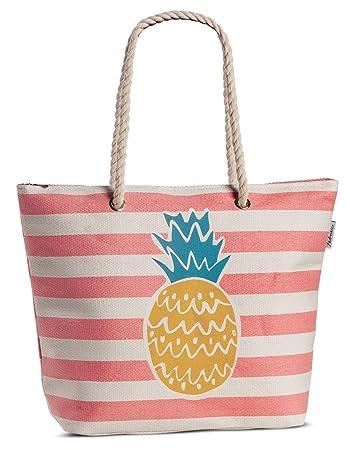 317d39b9c10b3 Einkaufstasche Strandtasche Shopper Korbtasche aus Bast gestreift mit  Obst-Motiv Variante Ananas