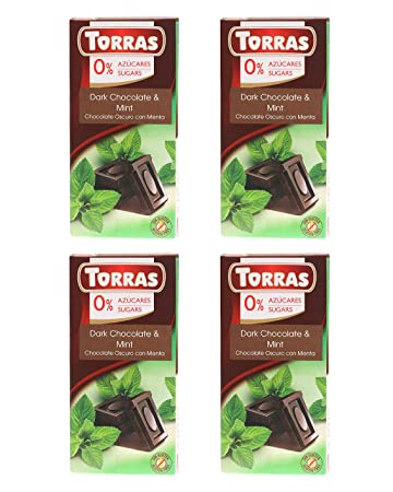 Torras Sugar Free and Gluten Free Dark Chocolate Bar - Mint (4 Pack)
