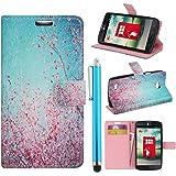 Hunye Custodia PU Pelle Portafoglio per LG L80 Case Fiori di Prugna rosa rosso/turchese Flip Cover con Stilo Penna azzurro
