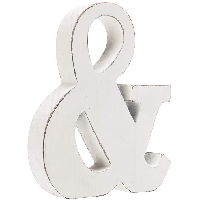MyGift Vintage White Wood Ampersand Wall Decor/Freestanding Monogram
