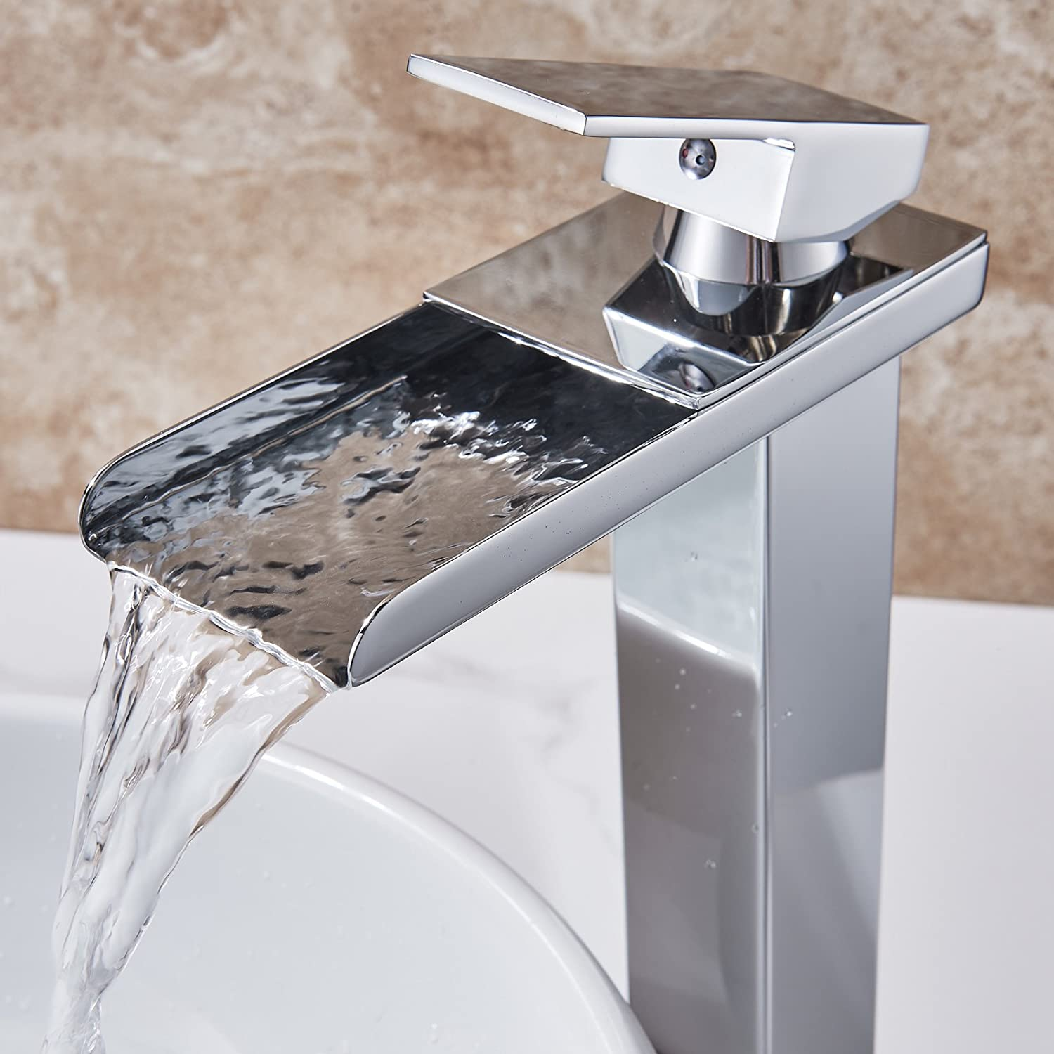 Senlesen Tall Waterfall Spout Bathroom Sink Vessel Faucet Basin Mixer Tap Chrome Finished