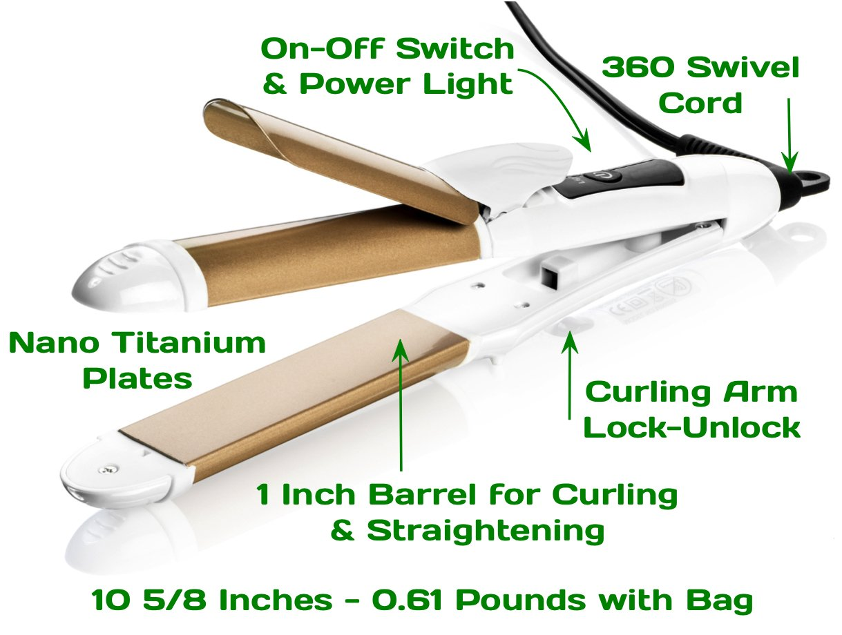 Travel Flat Iron 2-in-1 Mini Hair Straightener Curling Iron Dual Voltage 374 Degree Temperature Nano Titanium - Insulated Carry Bag Include by 6th Sense Styling Technology (Image #6)