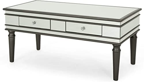 Xanthe Modern Mirrored Coffee Table with Drawers, Tempered Glass, Black Firwood Frame
