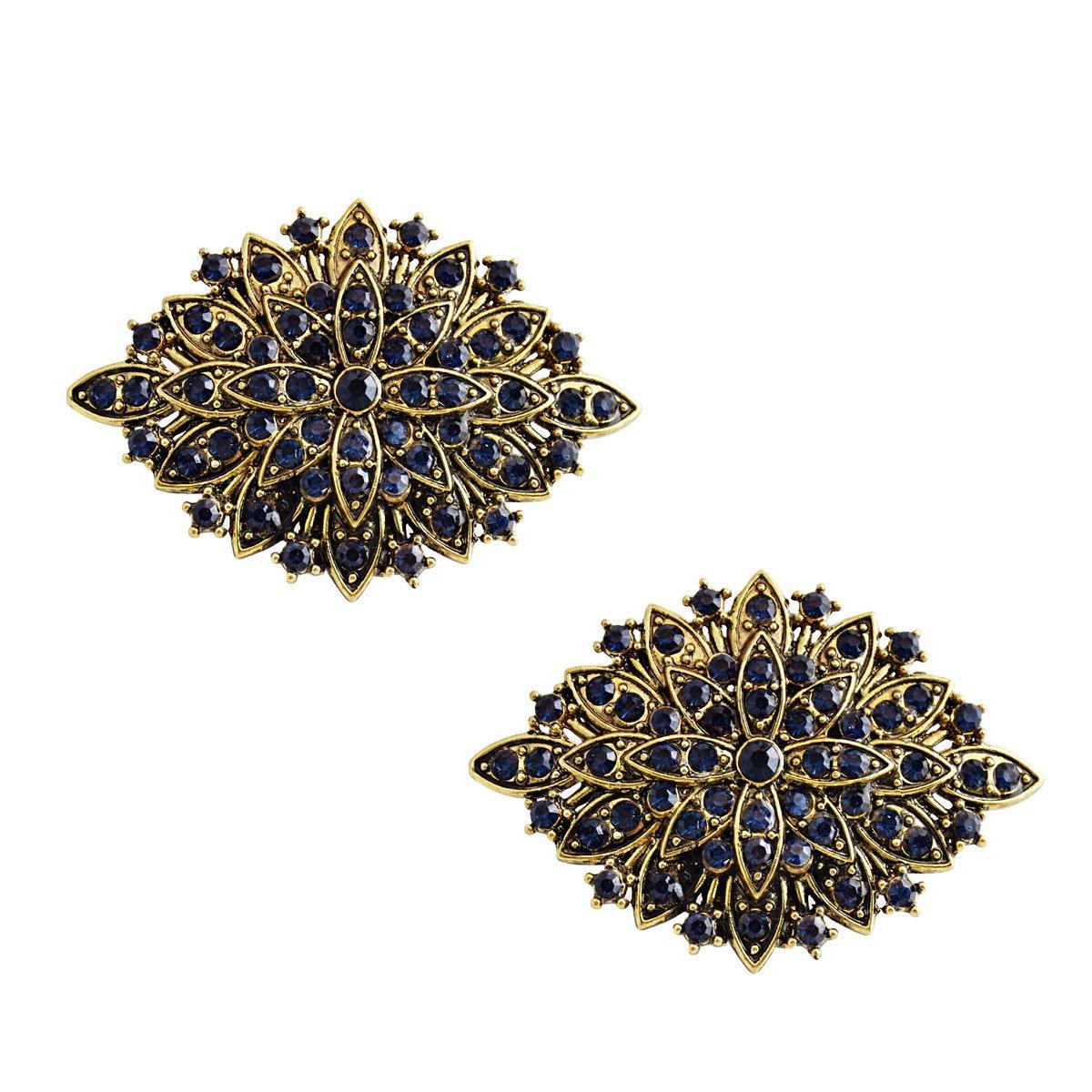 ElegantPark CG Antique Gold Leaf Design Rhinestones Wedding Party Decoration Shoe Clips Navy Blue 2 Pcs