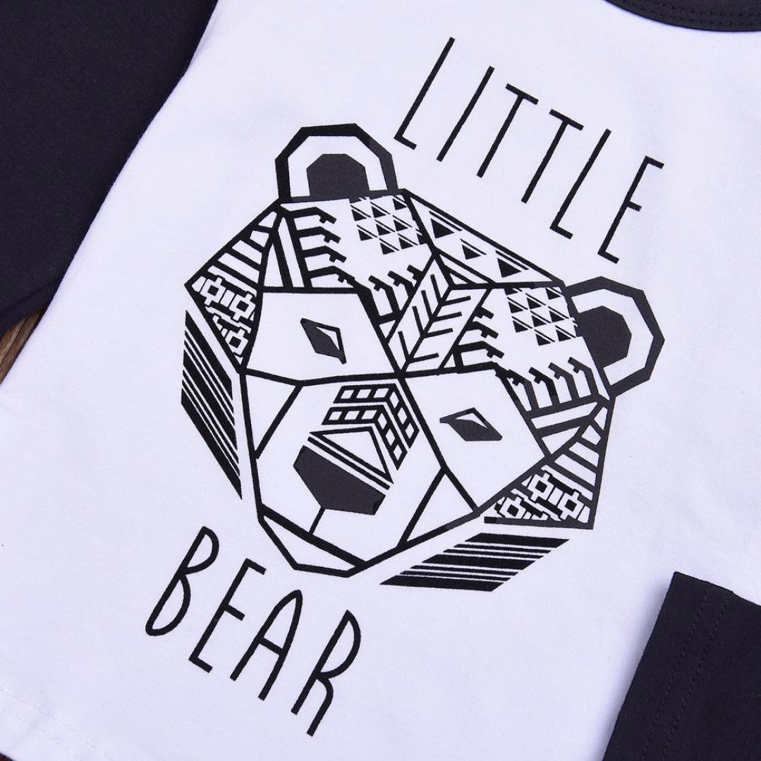 For 0-3 Years old Baby,DIGOOD Toddler Baby Girls Boys Letter Geometry Bear Romper+Stripe Pants 2Pcs Outfits Set