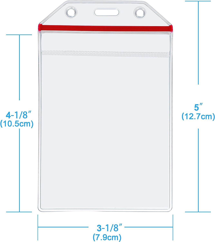 Wisdompro/® 10/unidades transparente resistente vinilo Badge Holder con Ziplock para m/últiples tarjetas Horizontal
