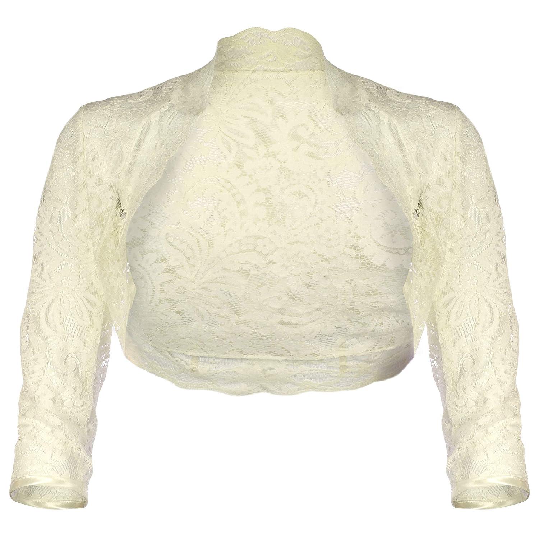 Grace & Flair - Ladies Ivory Windsor Lace Long Straight Sleeve Bolero Size 6-30