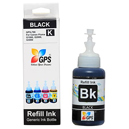 Gps Compatible Ink for Canon GI-790 Compatible Ink Bottel for Canon Pixma G1000, G2000, G3000 Printers 70 GMS (Black) Ink Refills & Kits at amazon