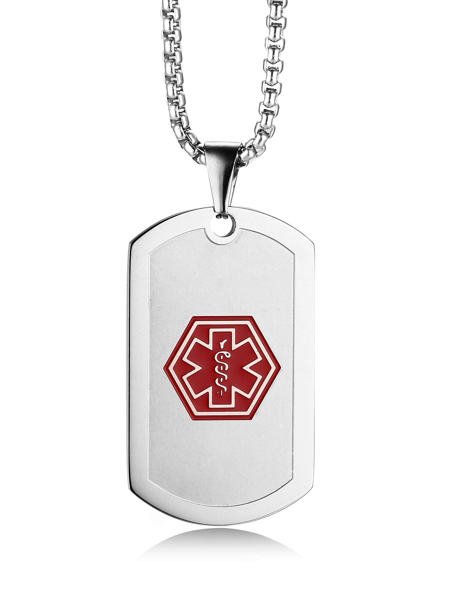 JF.JEWELRY Stainless Steel Medical ID Alert Tag Necklace for Men & Women 24 inches Free Engraving