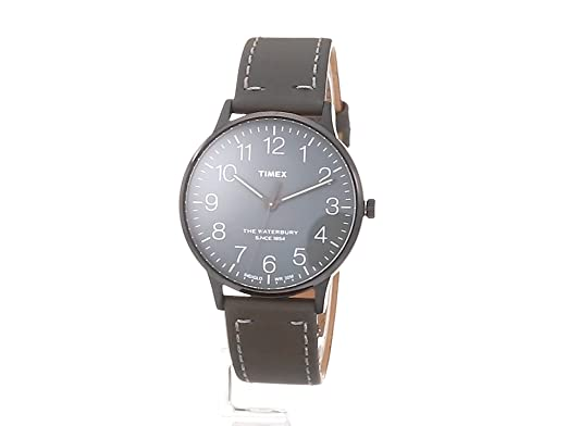 Amazon.com: Timex Unisex TW2P96000 Waterbury Classic 40mm Steel Grey Leather Strap Watch: Watches