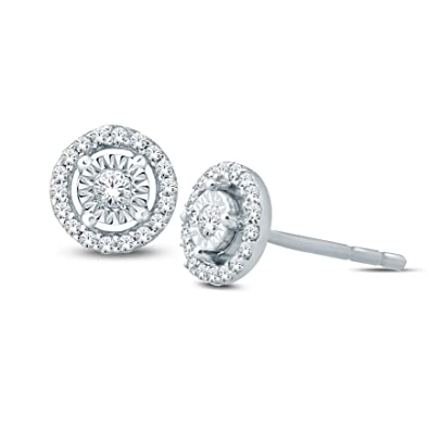 b4ae3dc5f 1/10 Cttw Round Diamond Illusion Set Solitaire Halo Stud Earrings Women 925  Sterling Silver