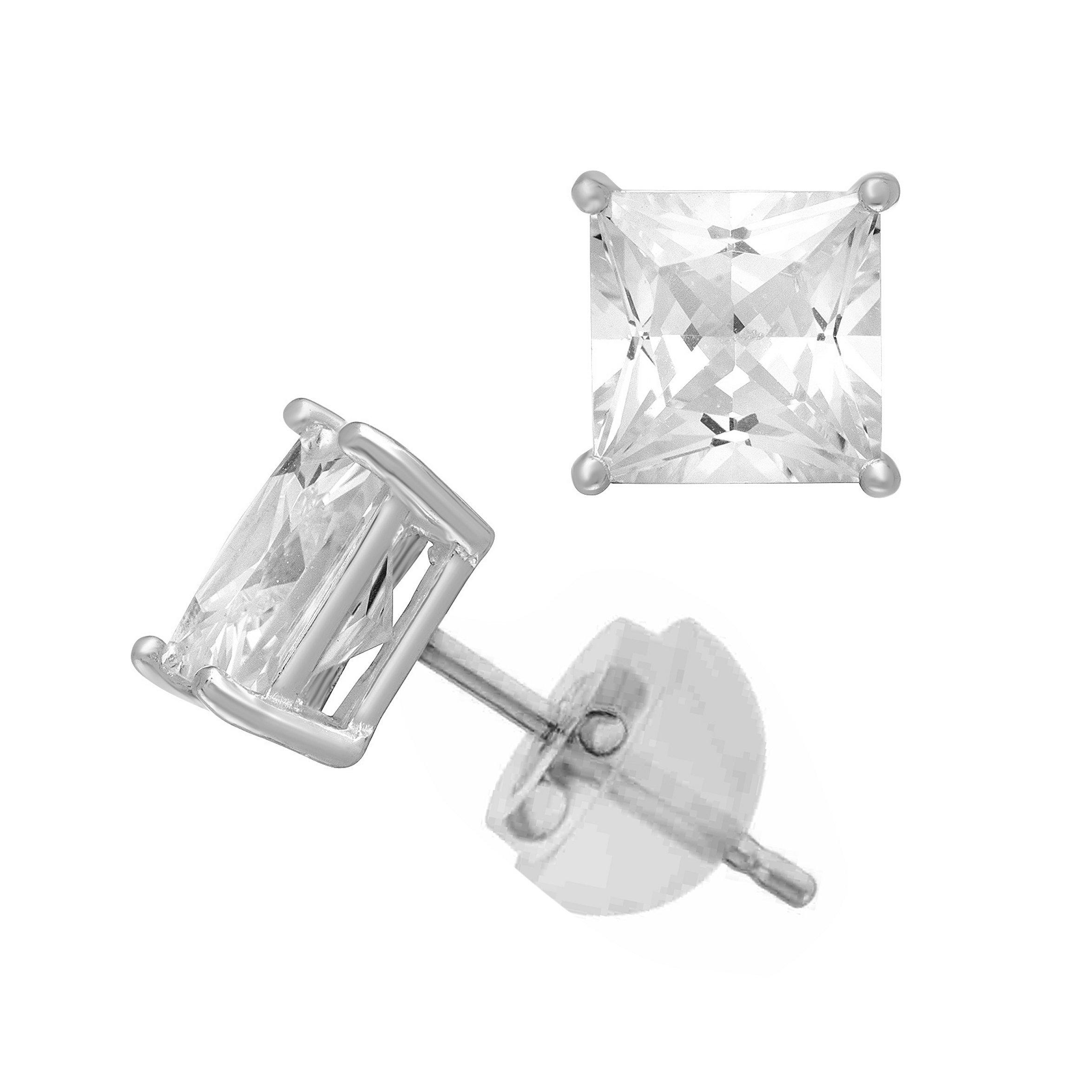 14K White Gold Cubic Zirconia Princess Cut CZ 7.0 mm Stud Earring Comfort Fit