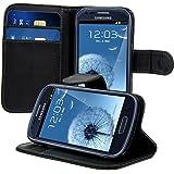 kwmobile Housse en cuir synthétique élégante pour Samsung Galaxy S3 Mini avec fermeture aimantée et fonction support en noir