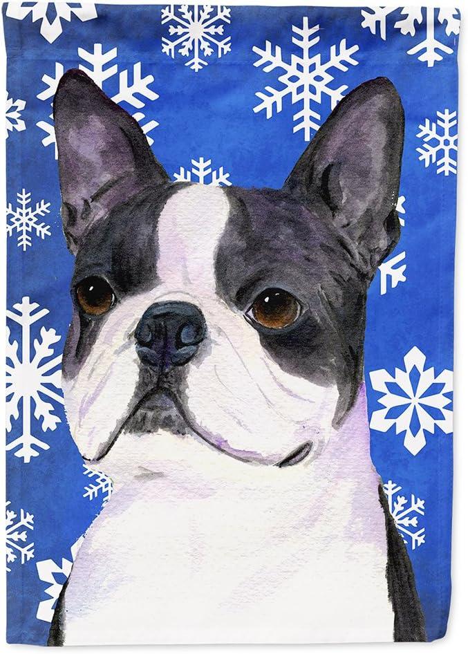 Caroline's Treasures SS4654GF Boston Terrier Winter Snowflakes Holiday Flag Garden Size, Small, Multicolor
