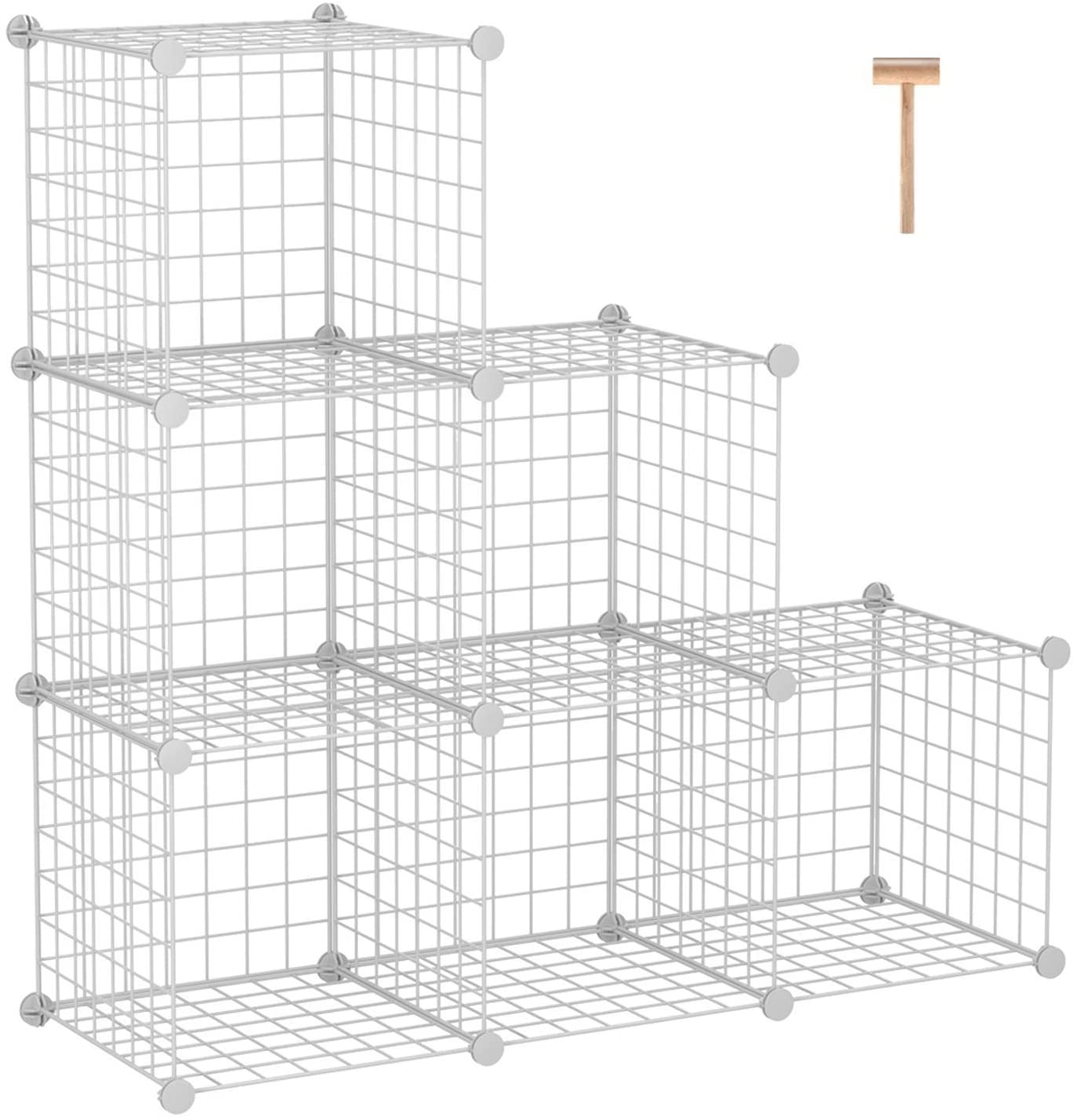 "C&AHOME Wire Storage Cubes, Metal Grids Bookshelf, Modular Shelving Units, Stackable Bookcase, 6 Cubes Closet Organizer for Home, Office, Kids Room, 36.6""L x 12.4""W x 36.6""H White"