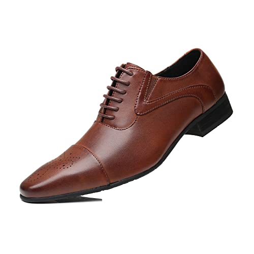 Herren Schlichter Business-Halbschuh aus Leder Lederschuhe Schnürhalbschuhe  Oxford Schuhe Smoking Hochzeit Anzug Schuhe Derby e9b97989d6