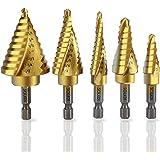 SOLEDI Kit de Cinco Brocas Aleación de Titanio (mango hexagonal espiral ranura)