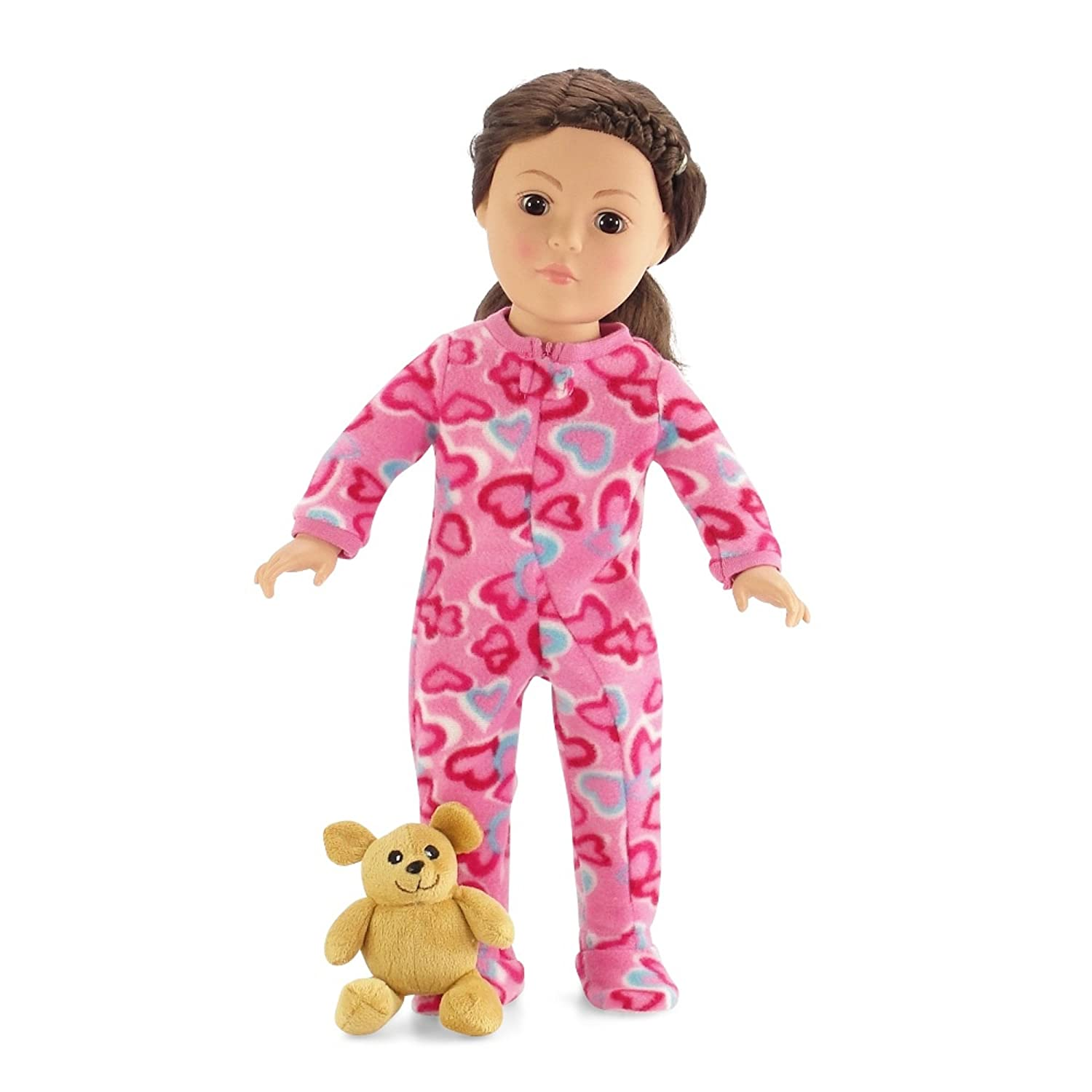 18 Inch Doll Pink Footed Heart Pajamas with Teddy Bear   Clothes Fit American Girl Dolls   Onesie Style   Gift Boxed by Emily Rose Doll Clothes