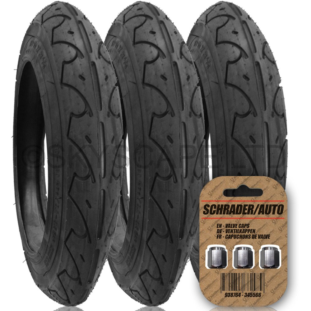 3 x MOTHERCARE EXTREME Suitable Stroller / Push Chair Tires to fit - 12'' x 1.75 - 2 1/4 (Black) Super Grippy & Fast Rolling + + FREE Upgraded Skyscape Metal Valve Caps (Worth $4.99)
