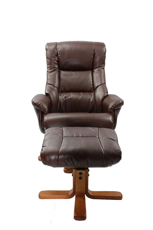 colore: Nocciola Oriental Leather Co Ltd The Shanghai/ girevole /Poltrona imbottita in pelle con poggiapiedi