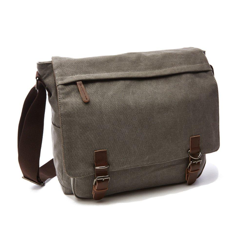 Sechunk Canvas Leather Messenger Bag Shoulder bag Cross body bag Crossbody small for men boy girl student school (grey, small)