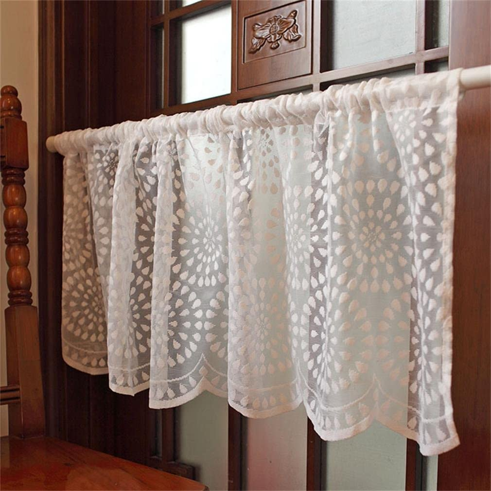 Embroidery Lace Short Curtain Kitchen Cafe Valance Voile Window Sheer Rome Decor