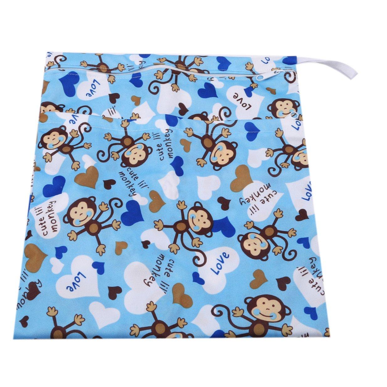 Blauer Affe EJY Karikatur Wiederverwendbare Windel Beutel Baby Tuch Wasserdicht Wickeltasche mit Rei/ßverschluss