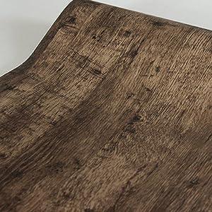 Yifely Retro Brown Wood Grain Shelving Paper Self-Adhesive PVC Shelf Drawer Liner Door Table Sticker 17.7 Inch by 9.8 Feet