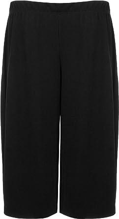New Womens Plus Size Crepe Plain Stretch Wide Leg Culottes Ladies ...