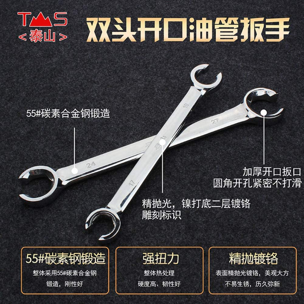GHKUFH Wrench Flare Wrench Double Open Spanner Set for Car Repair Silver Mirro Finished Flare Nut Wrenches Set,22,24mm 13-14mm