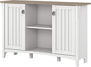 Bush Furniture Salinas Accent Storage Cabinet with Doors in Pure White and Shiplap Gray