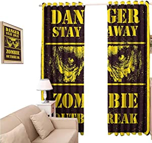 Decorative Blackout Curtains, Zombie Danger Stay Away Outbreak Message Monster Warning Sign Graphic, Curtain Panels for Living Room, 96x84 inch