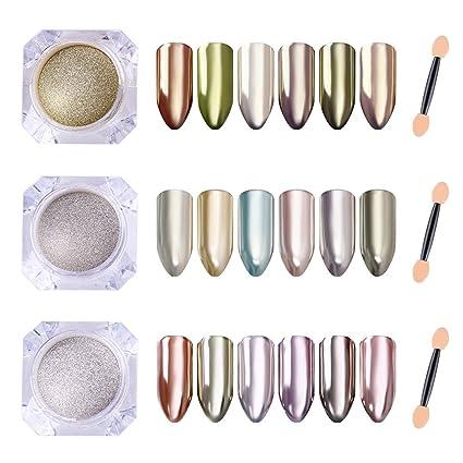 Coulorbuttons 3pcs Mirror Argento Oro Nail Glitter Powder Plvere Effetto  Specchio Nail Art Chrome Pigmento Polvere 857e25848938