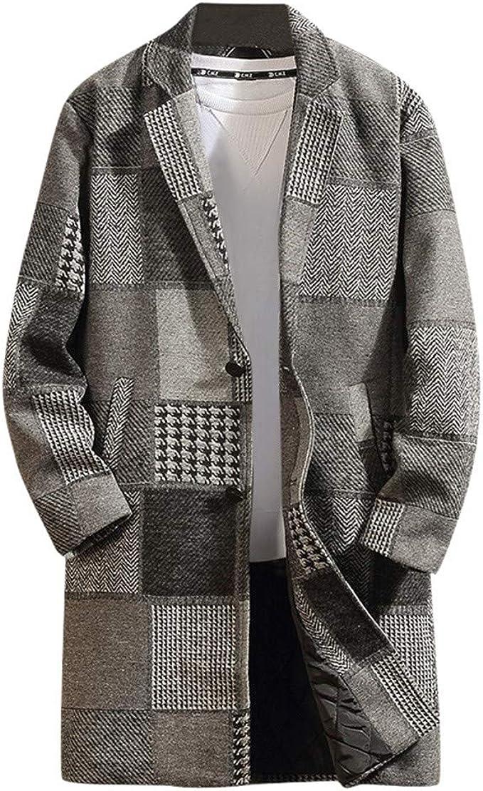Mens Western style Knitwear Jacket Cardigan Mid Length Trench Coat Outwear New L