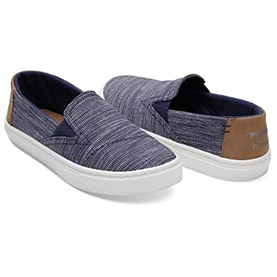 60c8e160e5d TOMS Kids Unisex Luca (Infant Toddler Little Kid) Navy Striped Chambray 2
