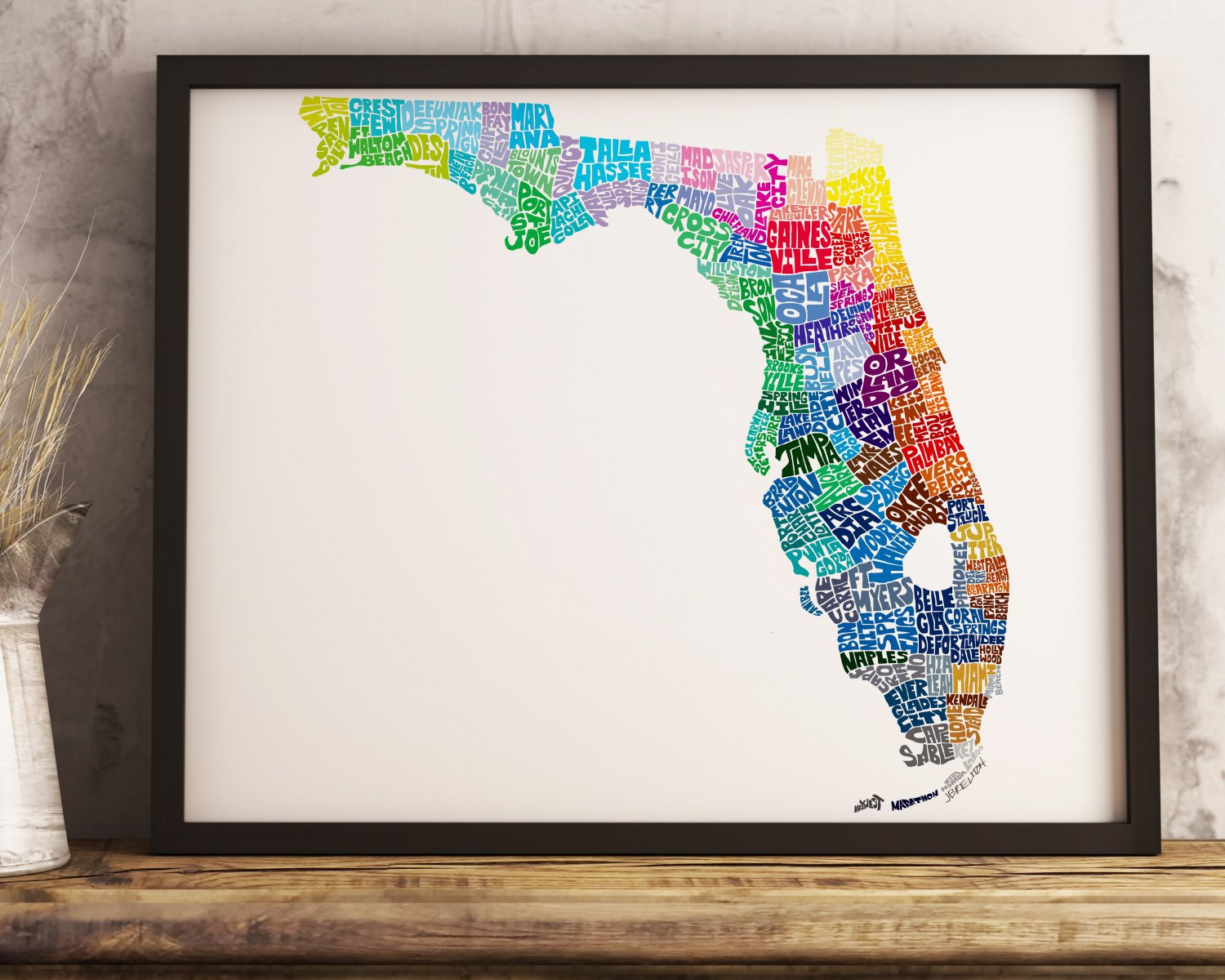 Amazon Com Florida Map Art Print Available Framed Or Unframed And